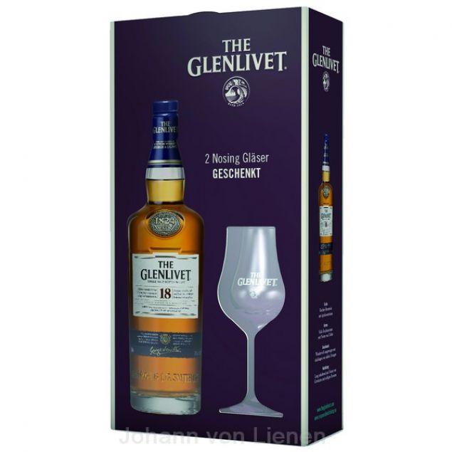 The Glenlivet 18 Jahre Geschenkset mit 2 Nosinggläsern 0,7 L 40%vol