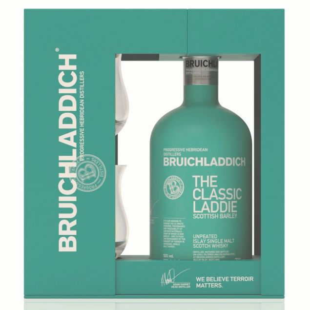 Bruichladdich Scottish Barley Geschenkset mit 2 Gläsern 0,7 L 50%vol