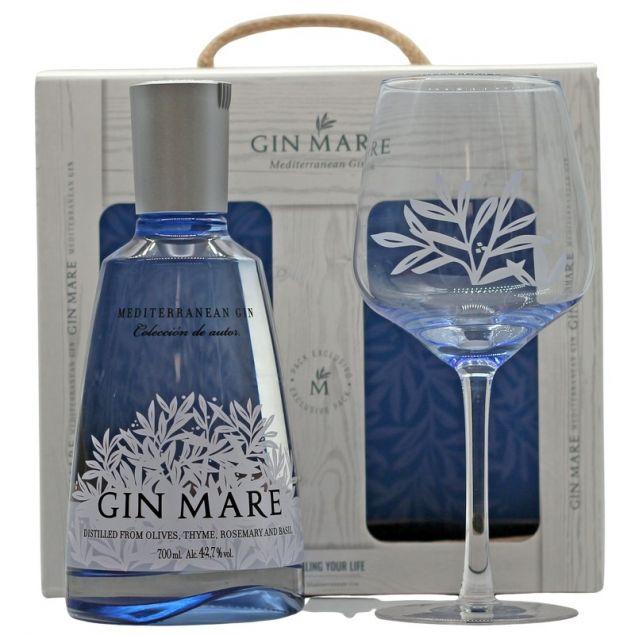 Gin Mare Geschenk-Set mit Glas 0,7 L 42,7% vol