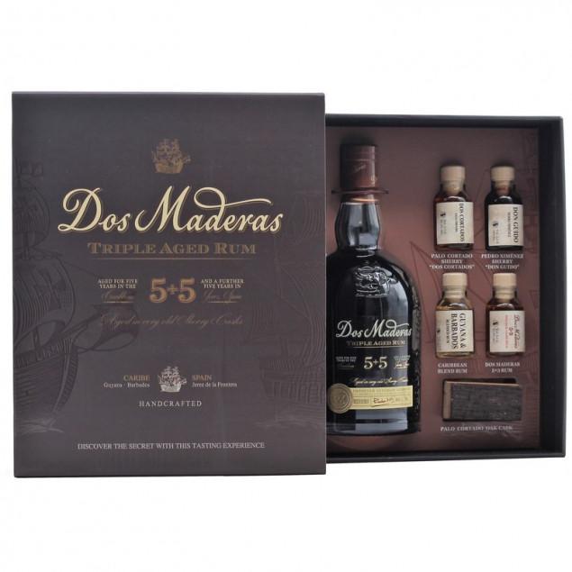 Dos Maderas PX 5+5 Jahre Rum-Tasting-Set 0,7 L + 4 x 0,02 L