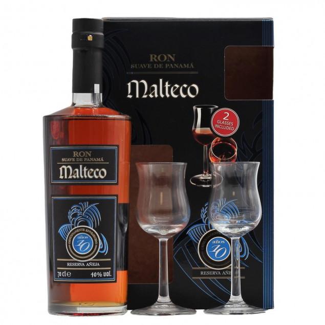 Ron Malteco Rum 10 Jahre Geschenkset + 2 Gläser 0,7 L 40% vol