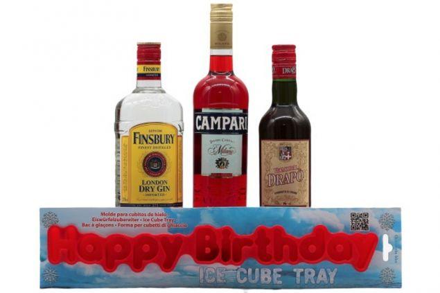 Negroni Cocktail Set mit Gin, rotem Wermut und Campari