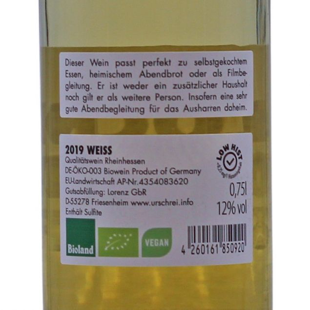 Lockdownstoff Weißwein Bio 0,75 L 12% vol