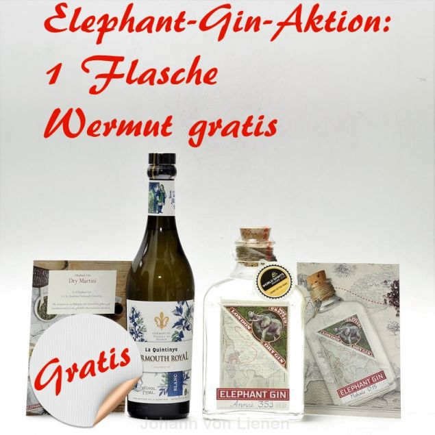 Sommerpaket Elephant Gin + La Quintinye Vermouth Royal Blanc