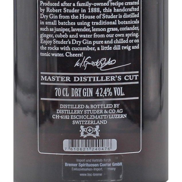 Studer Swiss Highland Dry Gin 0,7 L 42,4%vol