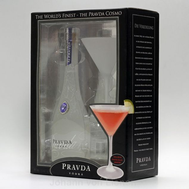 Pravda Vodka Cosmo Gift Set 0,35 L 40%vol