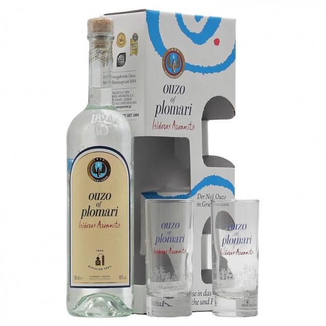 Andere Spirituosen Ouzo Plomari mit 2 Gläsern 0,7 L 40% vol