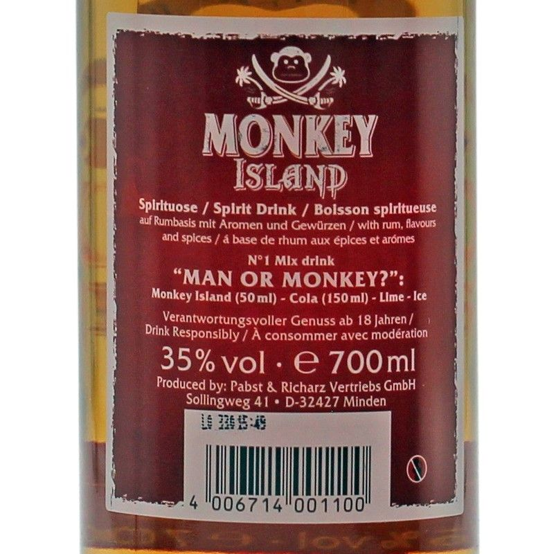 Monkey Island Spiced Rum 0,7 L 35%vol