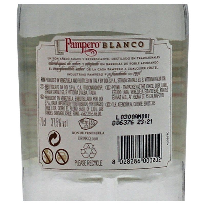 Pampero Blanco 0,7 L 37,5%vol
